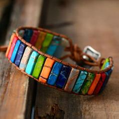 Kleurrijk Boho Natuursteen Gevlochten Touw Vrouwen Armbanden