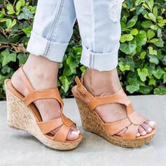 Vrouwen PU Wedge Heel Sandalen Pumps Wedges Peep Toe Hakken Ronde neus met Gesp Hol-out Effen kleur schoenen