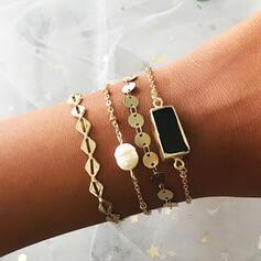 In de mode Gelaagd Legering Imitatie Parel Vrouwen Dames Armbanden 4 STUKS