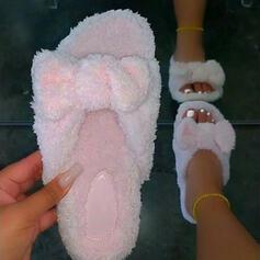 Vrouwen Nep bont Flat Heel Sandalen Peep Toe met Bont Effen kleur schoenen