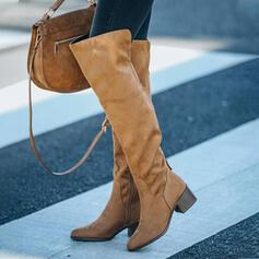 Vrouwen Suede Chunky Heel Closed Toe Over De Knie Laarzen Puntige teen met Rits Vastrijgen schoenen
