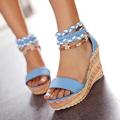 Vrouwen PU Wedge Heel Sandalen Wedges Peep Toe met Hol-out Gevlochten Riempje schoenen