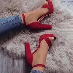 Vrouwen Suede Chunky Heel Sandalen Pumps Peep Toe met Hol-out Effen kleur schoenen