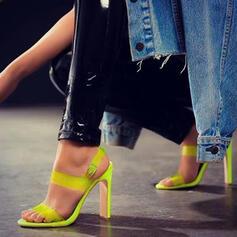Vrouwen PU Chunky Heel Sandalen Pumps Peep Toe Hakken met Gesp Effen kleur schoenen