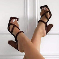 Vrouwen Suede Chunky Heel Pumps Peep Toe Teen Ring Hakken met Hol-out Effen kleur schoenen