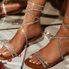 Vrouwen PU Flat Heel Sandalen Peep Toe met Strass Hol-out schoenen