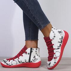 Vrouwen PU Low Heel Enkel Laarzen Ronde neus met Dier Afdrukken Vastrijgen Las kleur Ademend schoenen