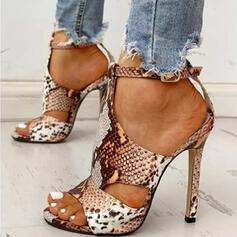 Vrouwen Kunstleer Stiletto Heel Sandalen Pumps Peep Toe met Dier Afdrukken Hol-out schoenen