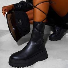 Vrouwen PU Chunky Heel Martin Boots Ronde neus met Rits Vastrijgen schoenen