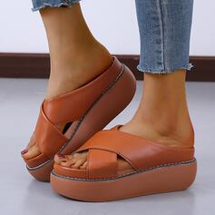 Vrouwen PU Chunky Heel Sandalen Plateau Wedges Peep Toe Slippers Hakken met Hol-out Verband schoenen