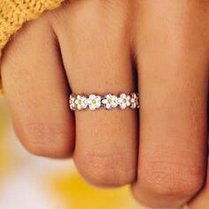 Geluk Legering met Bloem patroon Vrouwen Ringen