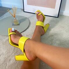 Vrouwen Kunstleer Chunky Heel Sandalen Pumps Peep Toe Slippers Teen Ring Vierkante teen met Effen kleur schoenen