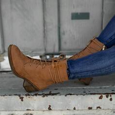 Vrouwen PU Chunky Heel Enkel Laarzen Martin Boots Ronde neus met Rits Vastrijgen schoenen
