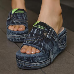 Vrouwen Suede Chunky Heel Sandalen Plateau Wedges Peep Toe Slippers Hakken met Hol-out Las kleur schoenen