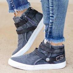 Vrouwen PU Flat Heel Flats Ronde neus met Gesp Las kleur schoenen