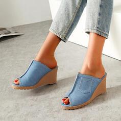Vrouwen Jean Wedge Heel Sandalen Pumps Peep Toe Hakken Ronde neus met Lapwerk schoenen