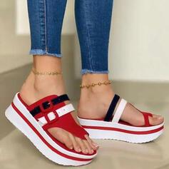 Vrouwen PU Wedge Heel Sandalen Plateau Wedges Peep Toe Slippers Teen Ring Hakken met Gesp Hol-out Las kleur schoenen