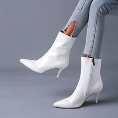 Vrouwen PU Stiletto Heel Enkel Laarzen Puntige teen met Rits schoenen