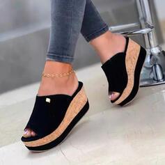 Vrouwen Jean Wedge Heel Sandalen Wedges Peep Toe Slippers Hakken met Effen kleur schoenen