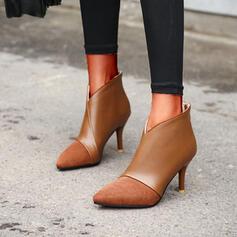 Vrouwen PU Stiletto Heel Enkel Laarzen Puntige teen met Rits Las kleur schoenen