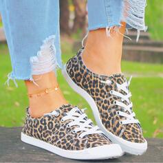 Vrouwen Zeildoek Flat Heel Flats Ronde neus Espadrille met Dier Afdrukken Vastrijgen schoenen
