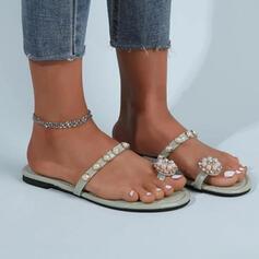 Vrouwen PU Flat Heel Sandalen Flats Peep Toe Slippers Teen Ring met Strass Parel Effen kleur schoenen