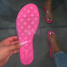 Vrouwen PU Flat Heel Sandalen Flats Peep Toe Slippers met Hol-out Effen kleur schoenen