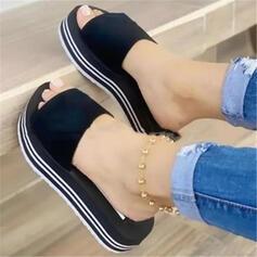 Vrouwen PU Wedge Heel Sandalen Plateau Wedges Peep Toe Slippers Hakken met Hol-out Las kleur schoenen