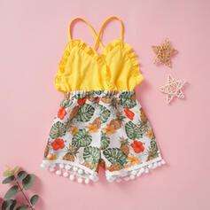 babymeisje Pom pom decor Roes Bloemen Print Katoen Jumpsuit