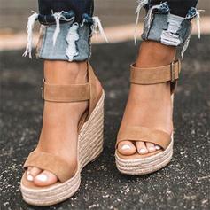 Suede Wedge Heel Sandalen Wedges Peep Toe Hakken met Anderen schoenen