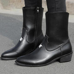 Vrouwen Microfiber Chunky Heel Martin Boots Puntige teen met Rits schoenen