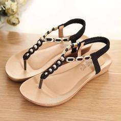Vrouwen Kunstleer Wedge Heel Sandalen Flats Peep Toe Slingbacks met Kralen Elastiek schoenen