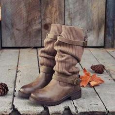 Vrouwen Kunstleer Low Heel Closed Toe Laarzen Half-Kuit Laarzen Martin Boots met Gesp Gesplitste Stof schoenen