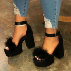 Vrouwen Kunstleer Chunky Heel Sandalen Pumps Peep Toe Hakken met Feather schoenen