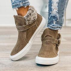 Vrouwen PU Flat Heel Enkel Laarzen Ronde neus Winterlaarzen met Gesp Vastrijgen schoenen
