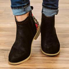 Vrouwen PU Chunky Heel Enkel Laarzen Ronde neus met Effen kleur Ademend schoenen