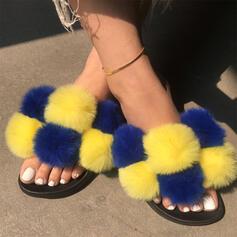 Vrouwen Nep bont Flat Heel Sandalen Flats Peep Toe Slippers met Bont Las kleur schoenen
