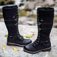 Vrouwen PU Flat Heel Knie Lengte Laarzen Martin Boots Ronde neus met Gesp Vastrijgen schoenen