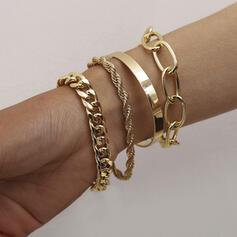 In de mode Wijnoogst Eenvoudig Gelaagd Legering met Vergulde Vrouwen Dames Girl's Armbanden 4 STUKS
