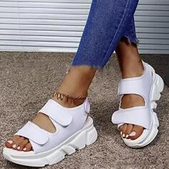 Vrouwen PU Wedge Heel Sandalen Plateau Wedges Peep Toe Slippers Hakken met Hol-out Velcro schoenen