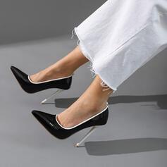 Vrouwen Patent Leather Stiletto Heel Sandalen Pumps Closed Toe Puntige teen met Hol-out Las kleur schoenen