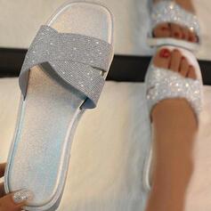 Vrouwen Kunststoffen Flat Heel Sandalen Flats Peep Toe Slippers met Strass schoenen
