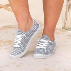 Vrouwen Doek Flat Heel Flats Lage top Ronde neus Espadrille met Vastrijgen Stripe schoenen