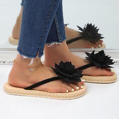 Vrouwen PU Flat Heel Sandalen Pumps Peep Toe Slippers Hakken met Bloem Effen kleur schoenen