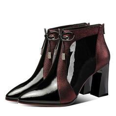 Vrouwen PU Stiletto Heel Chunky Heel Enkel Laarzen met Vastrijgen schoenen