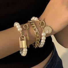 In de mode Sexy Wijnoogst Klassiek Legering Imitatie Parel met Imitatie Parel Vrouwen Dames Armbanden 4 STUKS