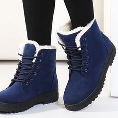 Vrouwen Suede Flat Heel Snowboots Ronde neus Winterlaarzen met Vastrijgen Effen kleur schoenen