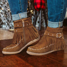 Vrouwen PU Flat Heel Enkel Laarzen Ronde neus Winterlaarzen met Rits Tassel schoenen