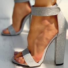 Vrouwen Sprankelende Glitter Chunky Heel Sandalen Pumps Hakken Ronde neus met Sprankelende Glitter Hol-out Effen kleur schoenen