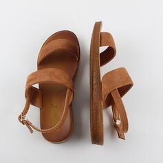Vrouwen PU Flat Heel Sandalen Peep Toe met Gesp Hol-out schoenen